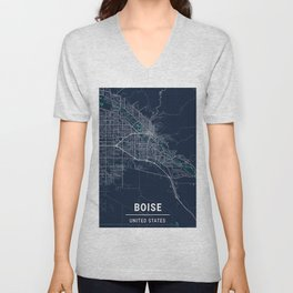 Boise Blue Dark Color City Map Unisex V-Neck