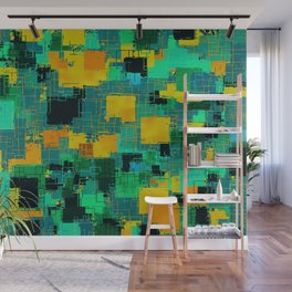 geometric square pattern abstract in green and yellow Wall Mural