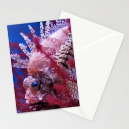 Lionfish (Dendrochirus brachypterus) in a red seaweed, blue background Stationery Cards