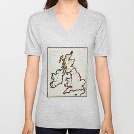 Vintage Map of The British Isles (1860) Unisex V-Neck