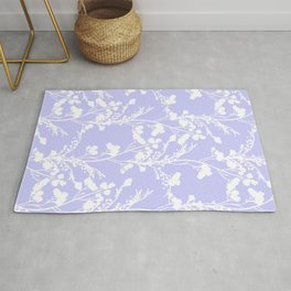 Flat Flower Silhouettes - Cut-Out Contrast in Periwinkle Purple and White Rug