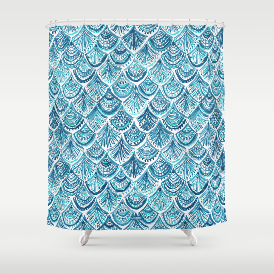 fish shower curtain scallop shower curtains society6 10383