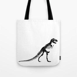 Tyrannosaurus Dinosaur skeleton Black and White Tote Bag