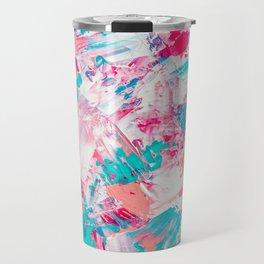 Modern bright candy pink turquoise pastel brushstrokes acrylic paint Travel Mug