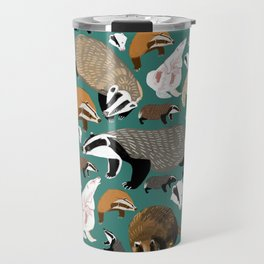 Eurasian badgers pattern teal Travel Mug