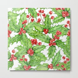 Holly berry watercolor Christmas pattern Metal Print