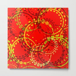 Mustard curls and circles of yellow and brown shades on a red background. Metal Print