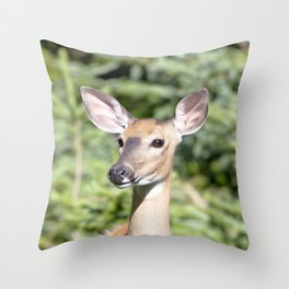 Watercolor Deer, Eastern Whitetail 03, Cape Breton, Canada, Who Me? Throw Pillow