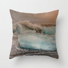Sunset at the Glacier Lagoon Throw Pillow