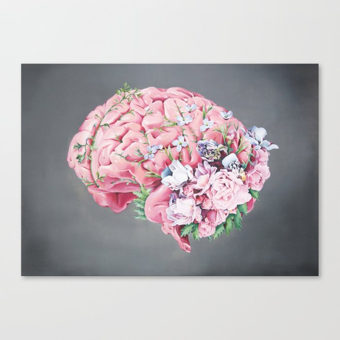 Floral Anatomy Brain Canvas Print by trishathompson | Society6