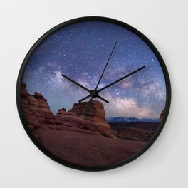 Delicate Arch Under the Starry Sky in Arches National Park Panorama Wall Clock