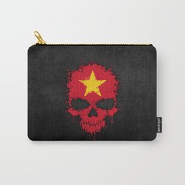Flag of Vietnam on a Chaotic Splatter Skull Carry-All Pouch