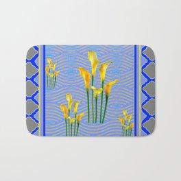 Shades of Blue Yellow Calla Lily Art Bath Mat