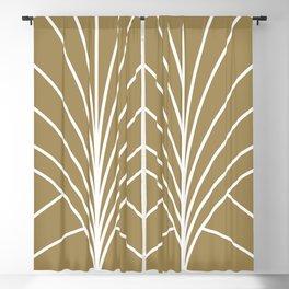 Round Series Floral Burst White on Gold Blackout Curtain
