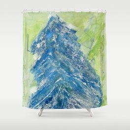Snowy Christmas Tree - Painting by young artist with Down syndrome Shower Curtain