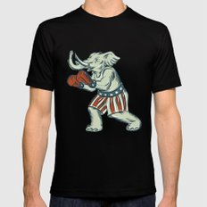 Republican Elephant Boxer Mascot Isolated Etching Black Mens Fitted Tee SMALL