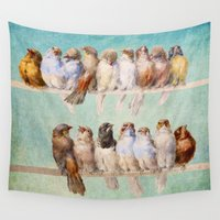 allyson johnson Wall Tapestries featuring Birds Birds Birds by Diogo Verissimo