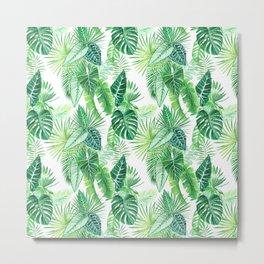 palm leaves watercolor pattern Metal Print
