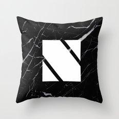 Black Marble - Alphabet N Throw Pillow