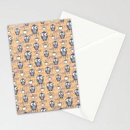 Orange & Blue Owls pattern Stationery Cards