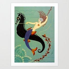 "Art Deco Illustration ""Water"" Art Print"