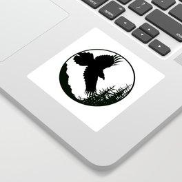 Raven & Forest circular silhouette Sticker