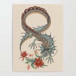 Botanical Flower Dragon 8 Poster