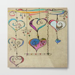 String of Hearts, Painful heart Metal Print