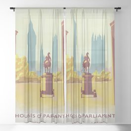 Houses of Parliament Westminster London Sheer Curtain
