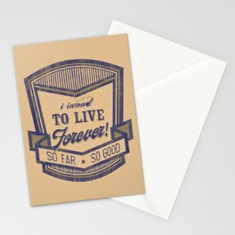 Live forever funny quote vintage logo Stationery Cards