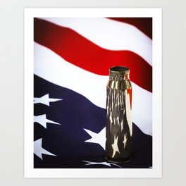 Red White and Brass the American Flag and a 20mm brass Casing reflections Art Print
