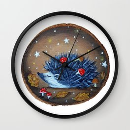 Magical Autumn Hedgehog With Forest Treasures Wall Clock