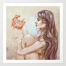 Flying Goldenfish Art Print