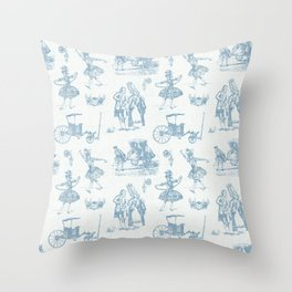 French Toile in Pigeon Blue Throw Pillow