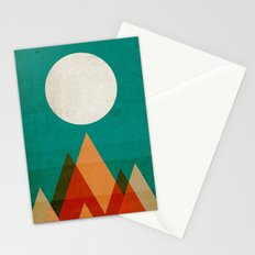 Full moon over Sahara desert Stationery Cards