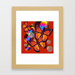 DECORATIVE MONARCH BUTTERFLIES & SOAP BUBBLES  ON TURMERIC  COLOR ART Framed Art Print