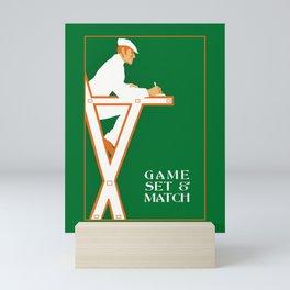 Game set and match retro tennis referee Mini Art Print