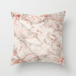 Elegant abstract gray rose gold foil marble Throw Pillow