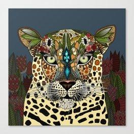 leopard queen blue Canvas Print