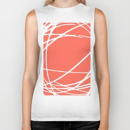 Striped Circles and Swirls, Living Coral, Abstract Biker Tank