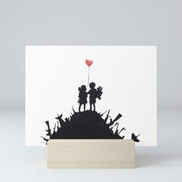 Banksy Two Children With Love Balloon At War Destruction Garbage, Streetart Street Art, Grafitti, Ar Mini Art Print