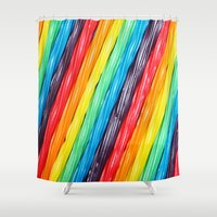 candy Shower Curtains featuring Rainbow Candy: Licorice by WhimsyRomance&Fun