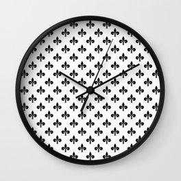 Black French Fleur de Lis on White Wall Clock