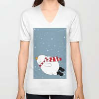 snowman V-neck T-shirts featuring Snowman by SANTA