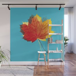 Autumn leaves red yellow on blue Wall Mural