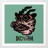 dragon mask Art Print