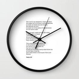 Psalm 23 Bible Verse Print - The LORD is my shepherd Wall Clock