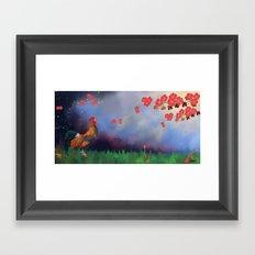 Rooster Blossoms Framed Art Print