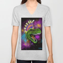Punky T-rex  Unisex V-Neck