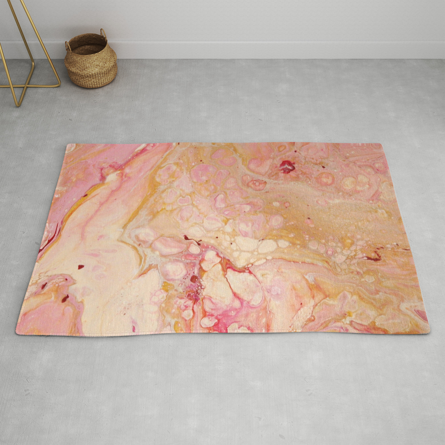 Pink Bubblegum Fun - Abstract Acrylic Pour Art Rug by fluidnature